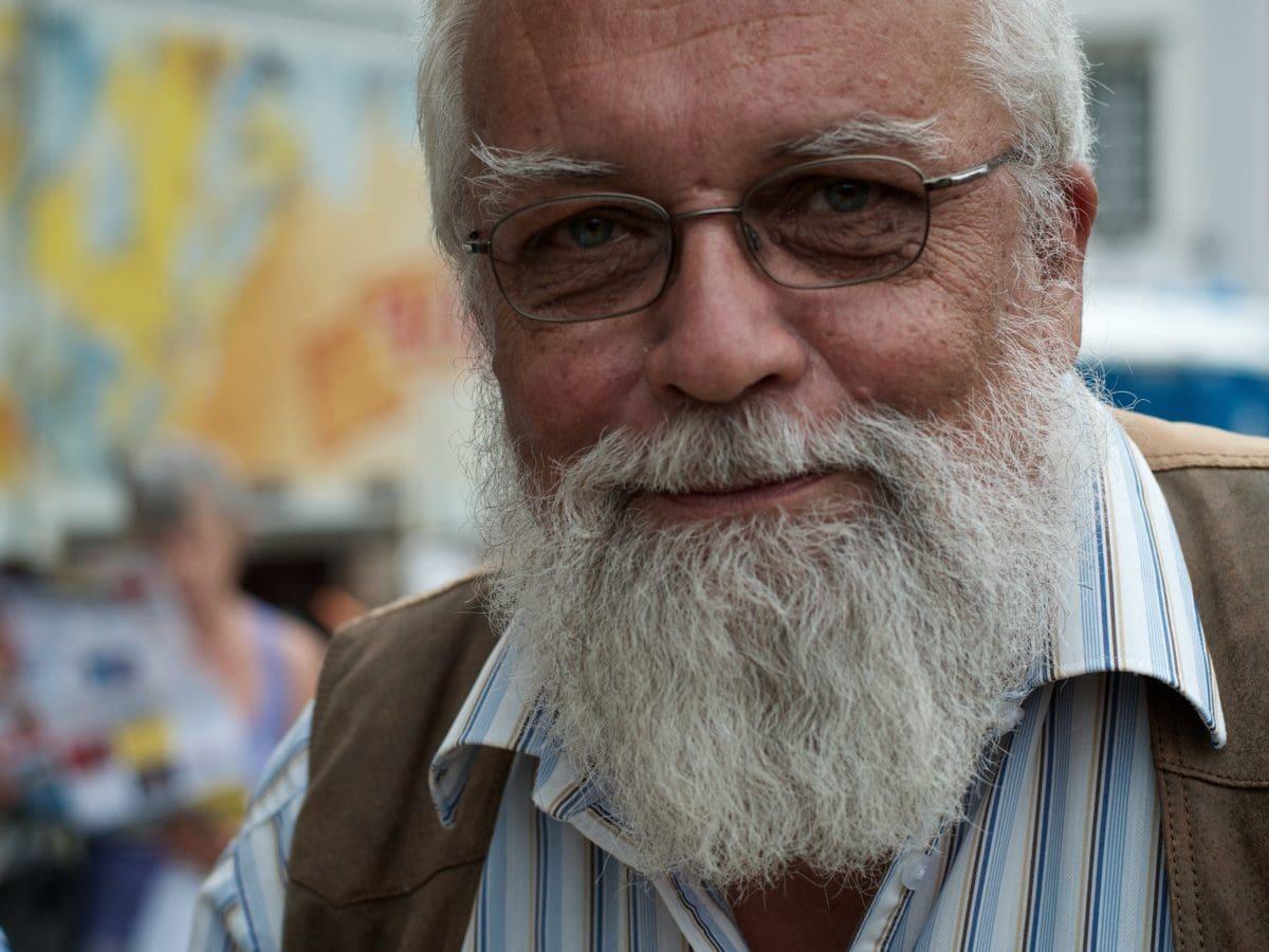 skjegg, briller, senior, eldre, bestefar, stående, gamle, mann