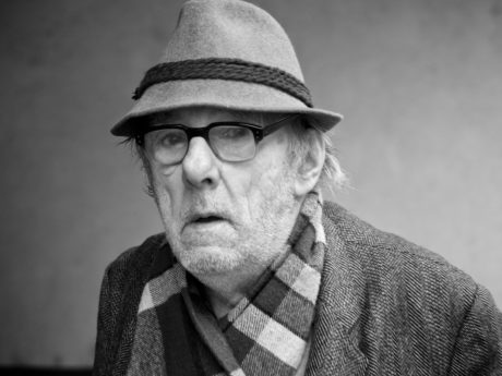 eyeglasses, hat, pensioner, man, person, portrait, people, monochrome