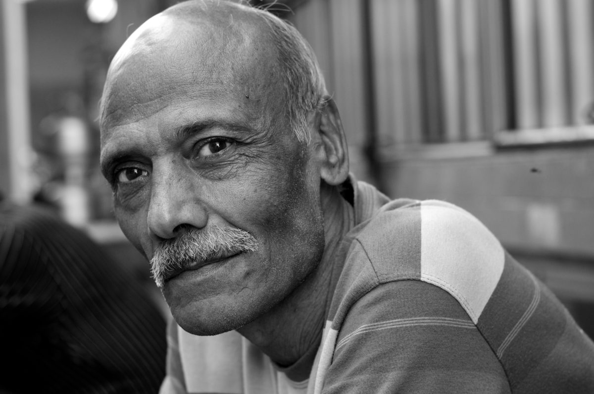 portrait, people, senior, man, person, grandfather, mature, monochrome