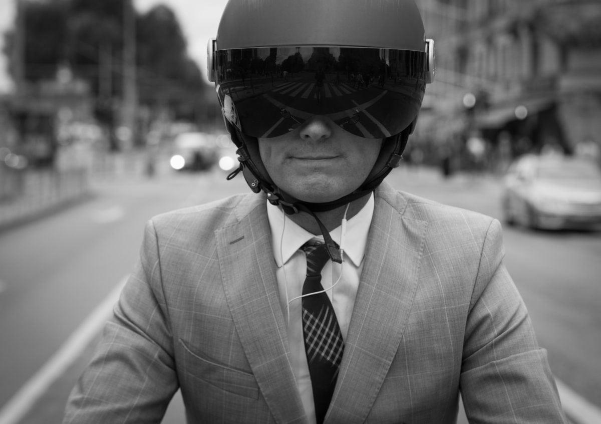 helmet, motorbike, motorcyclist, monochrome, street, people, portrait, man