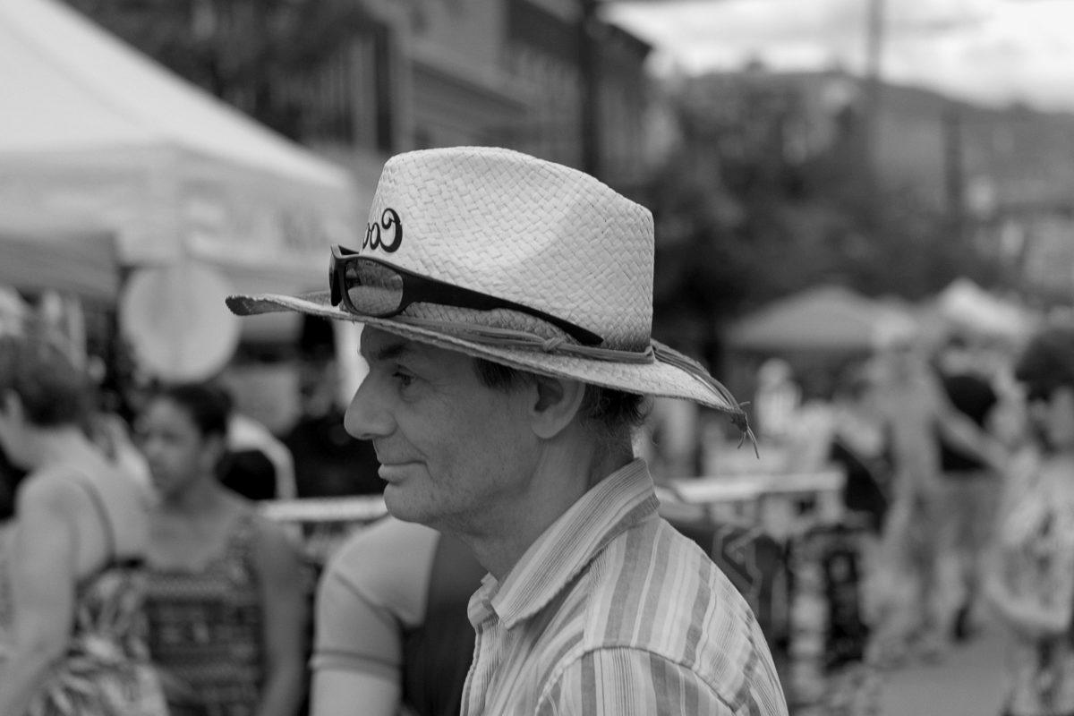 хора, шапка, облекло, улица, монохромен, мъж, портрет, град