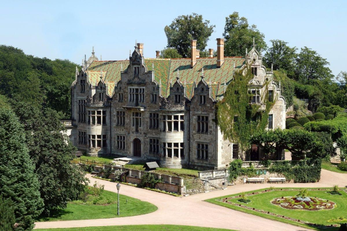 Castelo, exterior, jardim, edifício, arquitetura, velho, casa, mansão