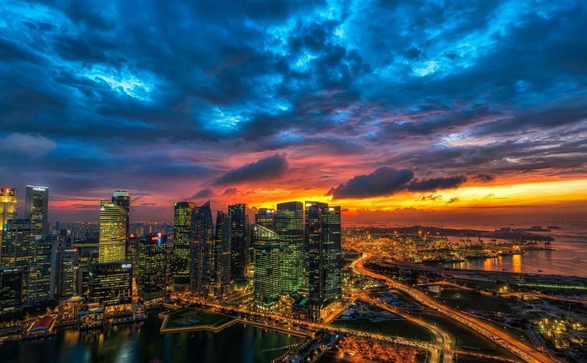 downtown, night, nighttime, urban, architecture, dusk, city, cityscape