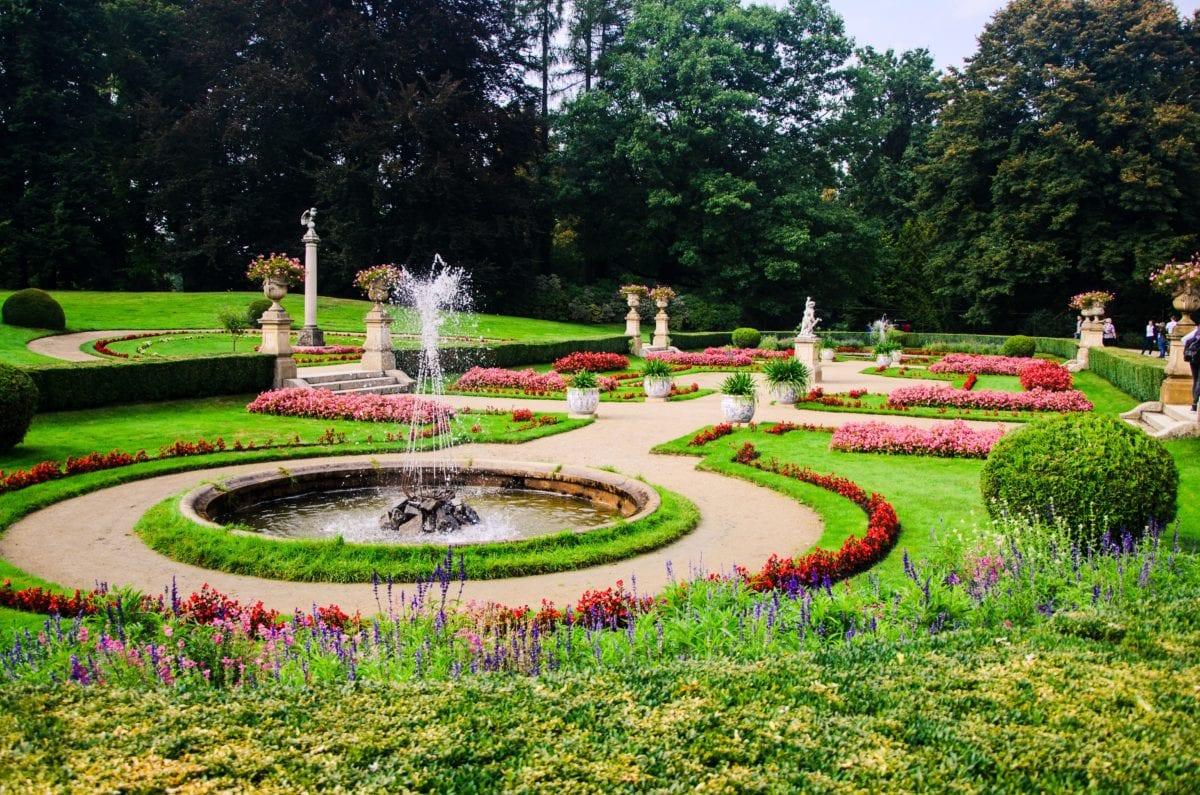 vanjski dio, vanjski, Fontana, vrt, cvijet, trava, priroda, ljeto