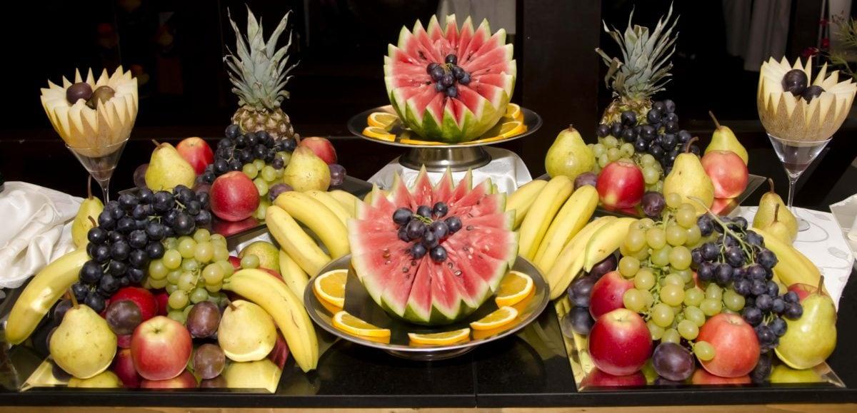 декорация, храна, ананас, банан, плодове, пъпеш, грозде, Праскова