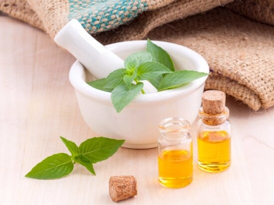 basil, cure, health care, oil, glass, medicine, herb, wooden