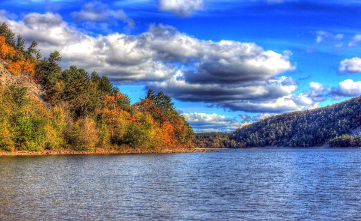 jezero, mrak, pobřeží, jezera, krajina, voda, reflexe, Příroda