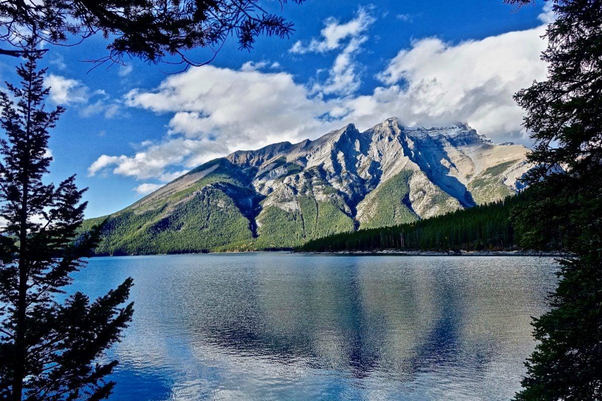 bjerg, søen, landskab, sne, vand, gletscher, natur, refleksion