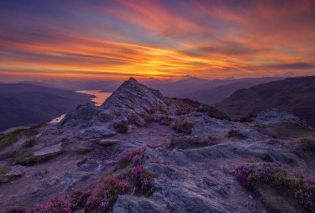 bjergtinde, bjerg, sky, dalen, landskab, fjeldkløft, solnedgang, natur