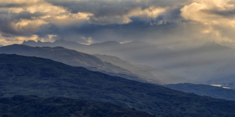bjerg, landskab, sky, natur, solnedgang, tåge, solen, daggry