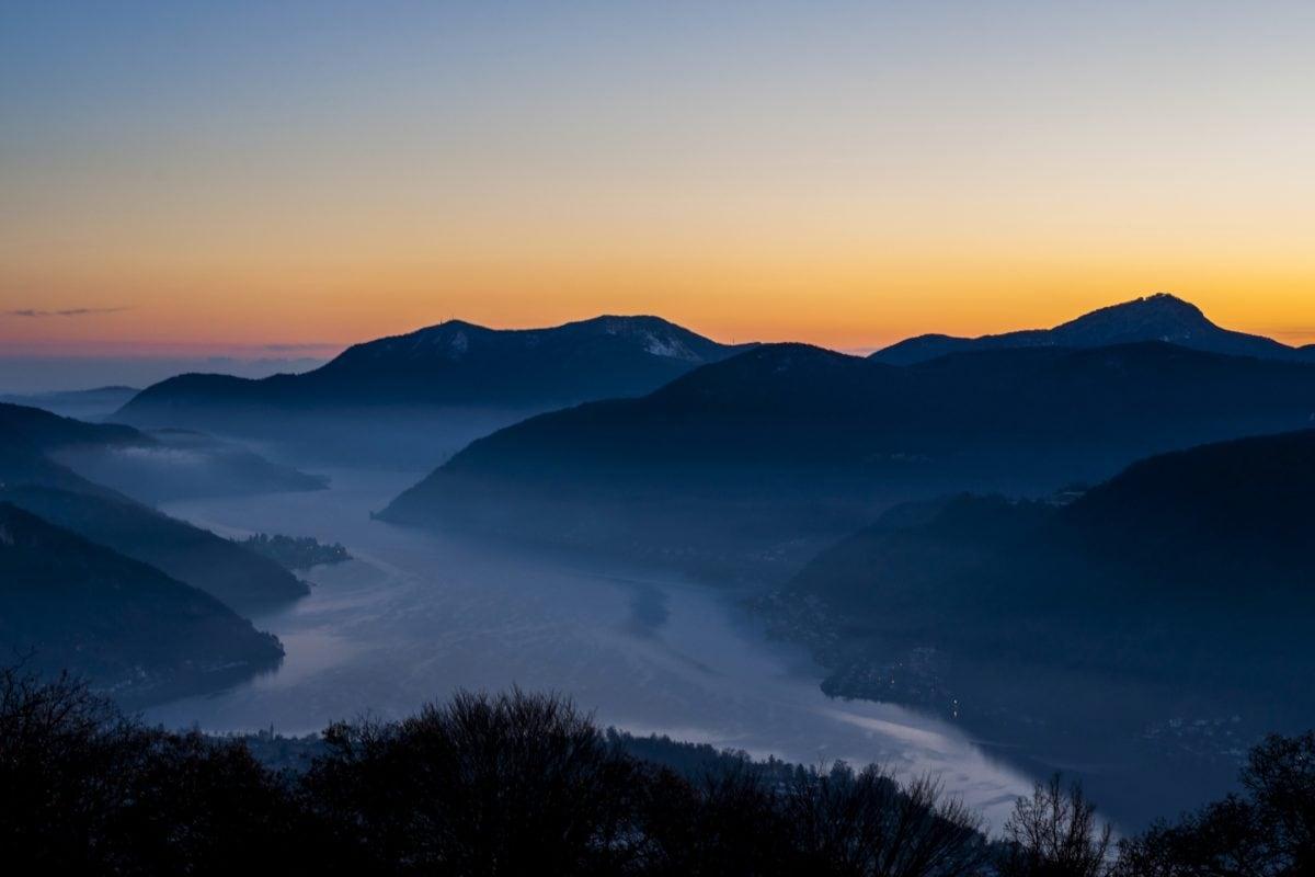 sky, mountain, sunset, dawn, landscape, fog, snow, nature