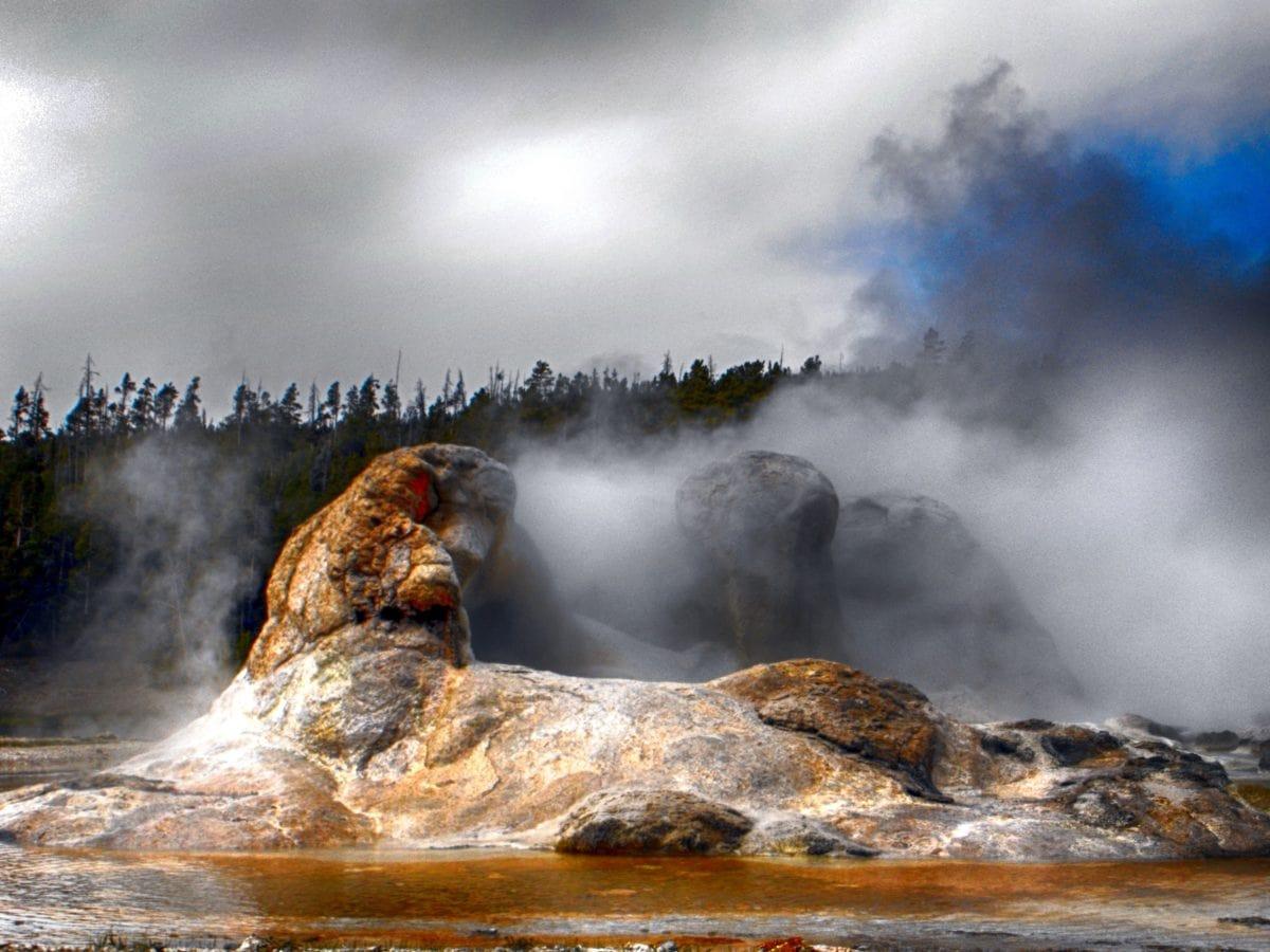 horký pramen, vodní příkop, vodní systém, jaro, voda, vodopád, krajina, gejzír