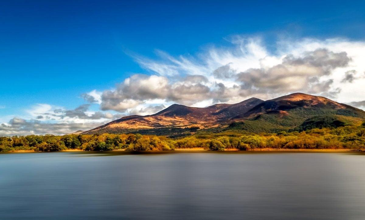 maisema, vuori, järvi, vesi, auringonlasku, pilvi, heijastus, Luonto