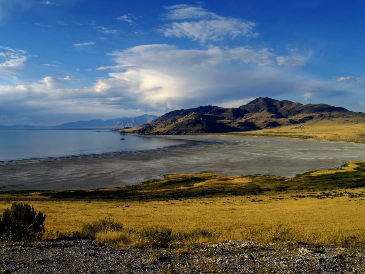 landskab, vand, Shoreline, havet, solnedgang, sky, natur, bjerg