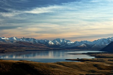 glacier, sky, snow, landscape, lake, water, mountain, sunset