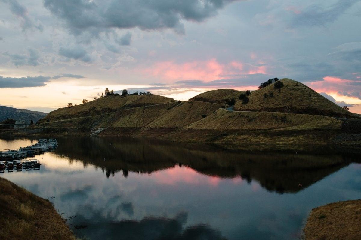 vand, landskab, bjerg, søen, refleksion, sky, solnedgang, floden