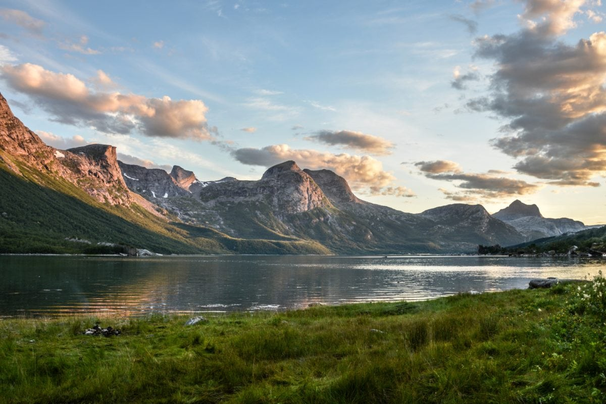 mountain, mountain peak, lake, water, landscape, sky, nature, sunset