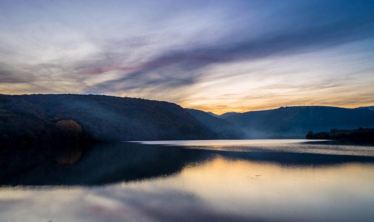 water, sunset, landscape, sky, dawn, lake, dusk, mountain