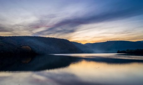 water, sunset, landscape, sky, dawn, lake, dusk, mountain