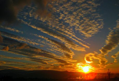 sky, skyer, solen, aften, tähti, solnedgang, solopgang, daggry