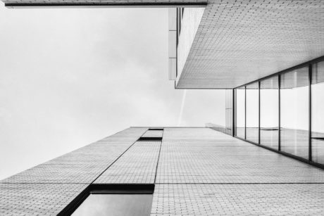 black and white, monochrome, perspective, window, sky, building, modern, architecture