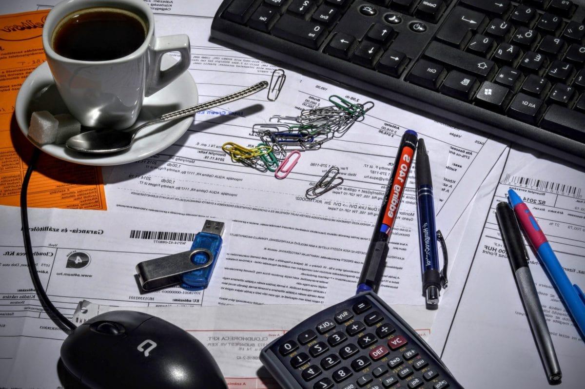 kubek kawy, komputer, urządzenia, Biuro, klawiatura, biznes, dane, laptopa