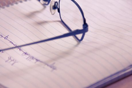 eyeglasses, paper, document, pencil, office, still life, education, blur