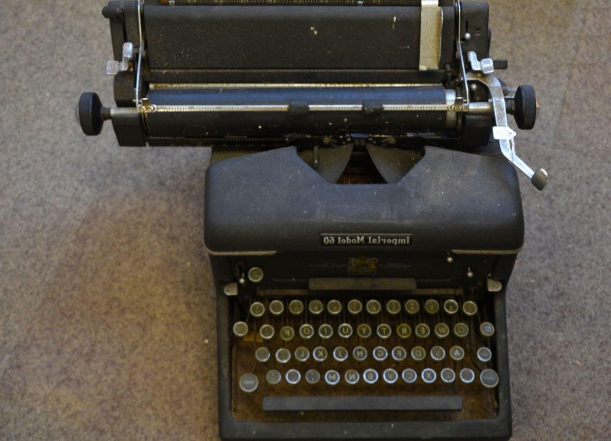 näppäimistö, avain, kirjoituskone, laitteen, kannettava, retro, liiketoiminnan, nostalgia