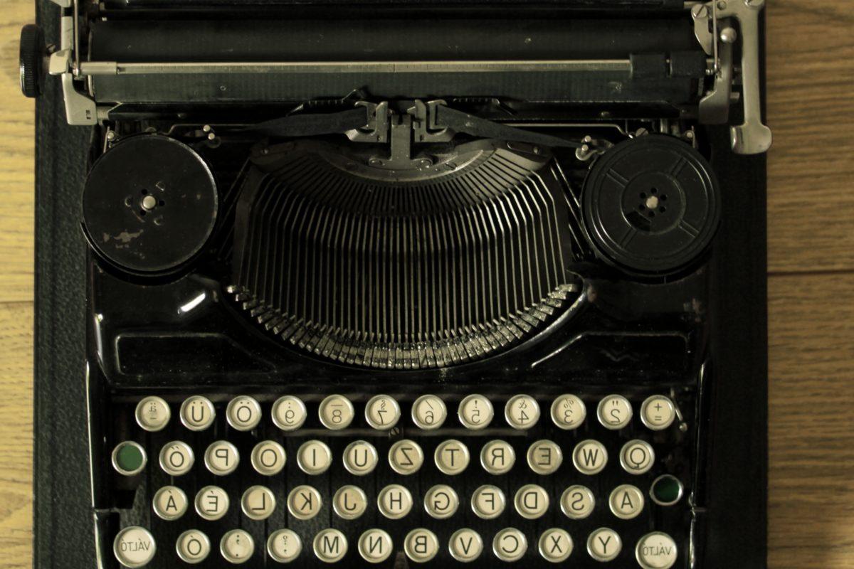 årgang, nostalgi, gamle, retro, tastatur, bærbare, antik, skrivemaskine
