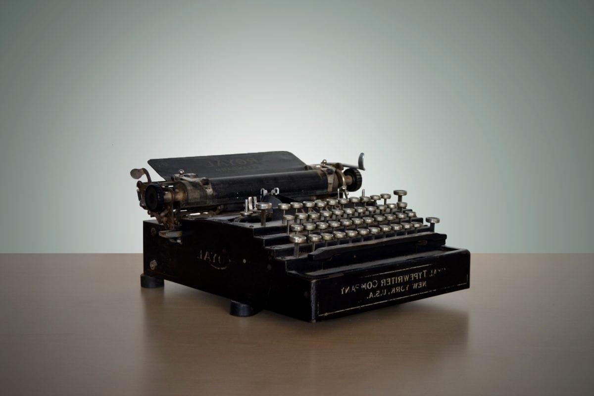 unité, portable, machine à écrire, Retro, technologie, à l'intérieur, Electronics, antique