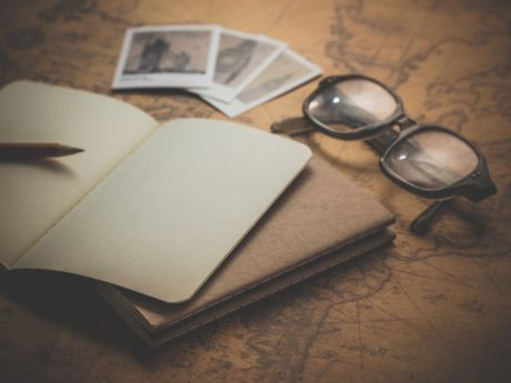 eyeglasses, geography, map, device, notebook, paper, business, education
