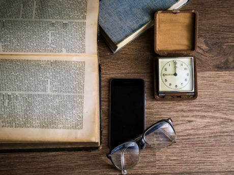book, cellphone, clock, eyeglasses, mobile phone, wood, container, retro