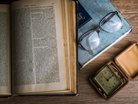 clock, eyeglasses, paper, literature, page, book, old, education