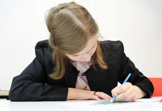 forretningskvinne, sekretær, Skriftlig, kontor, lekser, barn, utdanning, papir