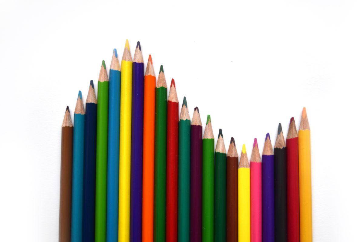 เรนโบว์, ดินสอ, ดินสอสี, รูปวาด, ศิลปะ, โรงเรียน, วาด, การศึกษา