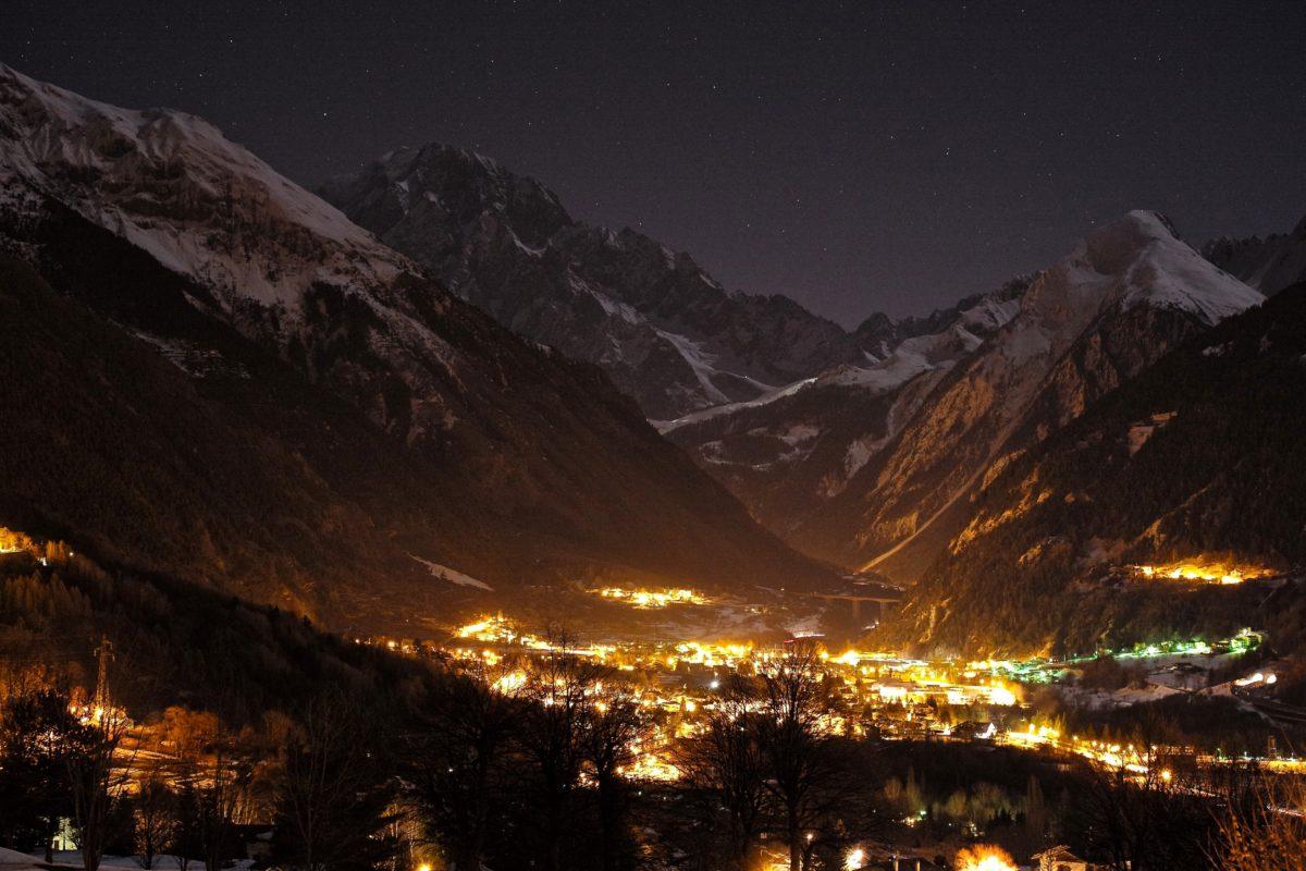 bjerge, sne, rækkevidde, landskab, bjerg, rejse, vinter, solnedgang