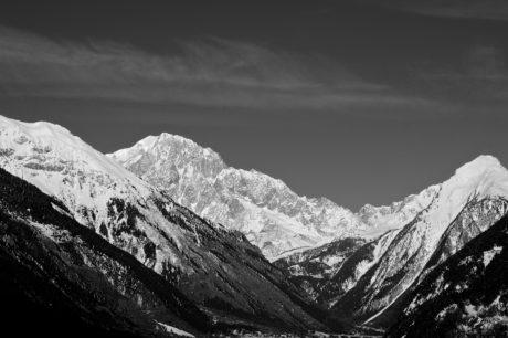 aralığı, kar, bulut, dağ, buzul, en yüksek, dağlar, manzara