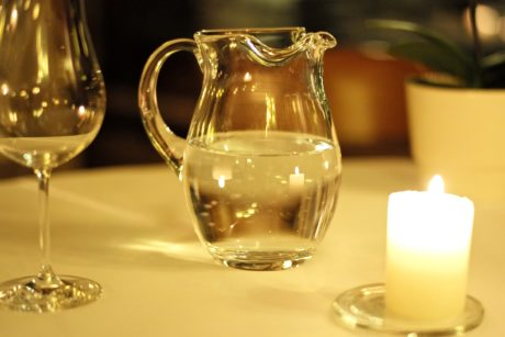 candlelight, drink, bottle, pitcher, beverage, glass, container, candle