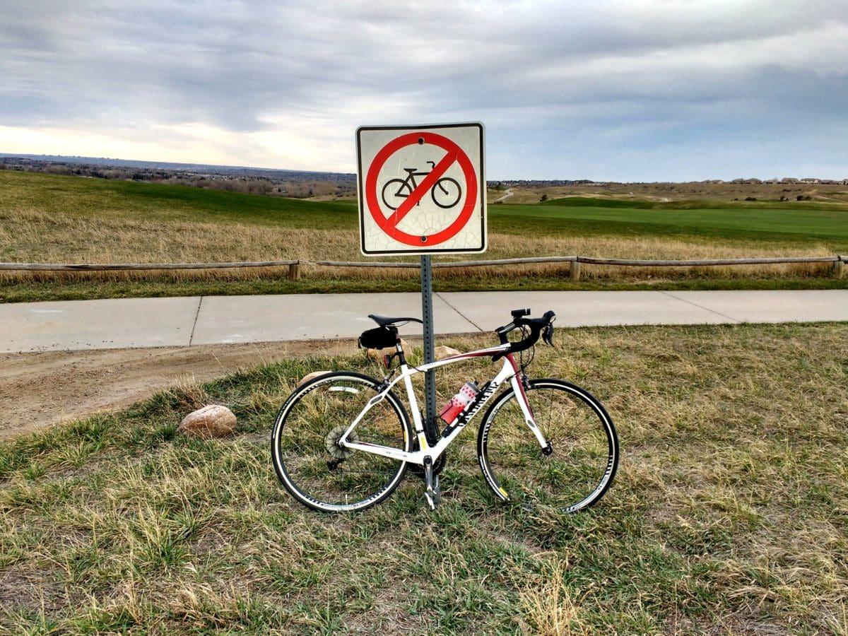 signe, mise en garde, vélo de montagne, cycle, vélo, prise en charge, siège, vélos de route