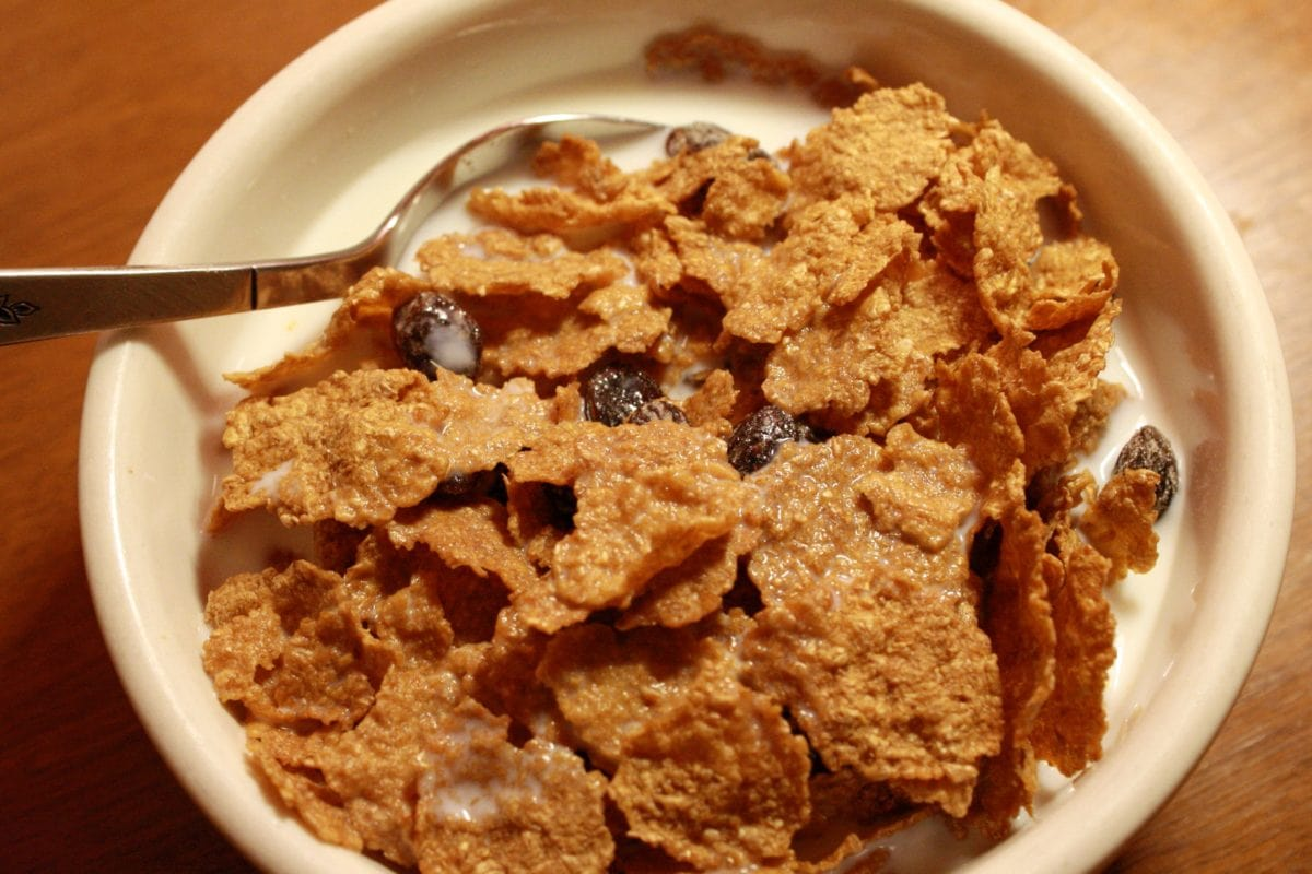 breakfast, cereal, homemade, milk, spoon, plate, food, meal
