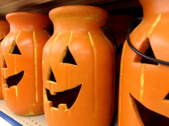 pottery, Halloween, pumpkin, indoors, traditional, lantern, container, still life