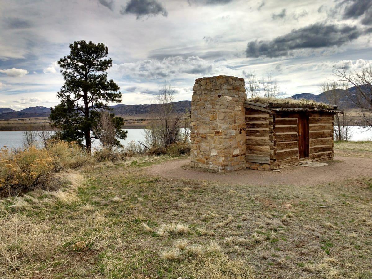 antiguo, piedra, paisaje, abandonado, viajes, en la nube, agua, césped