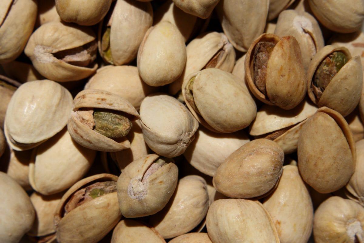 hnědá, semeno, jídlo, pistáciová, skořápka, výživa, plocha, zkratce