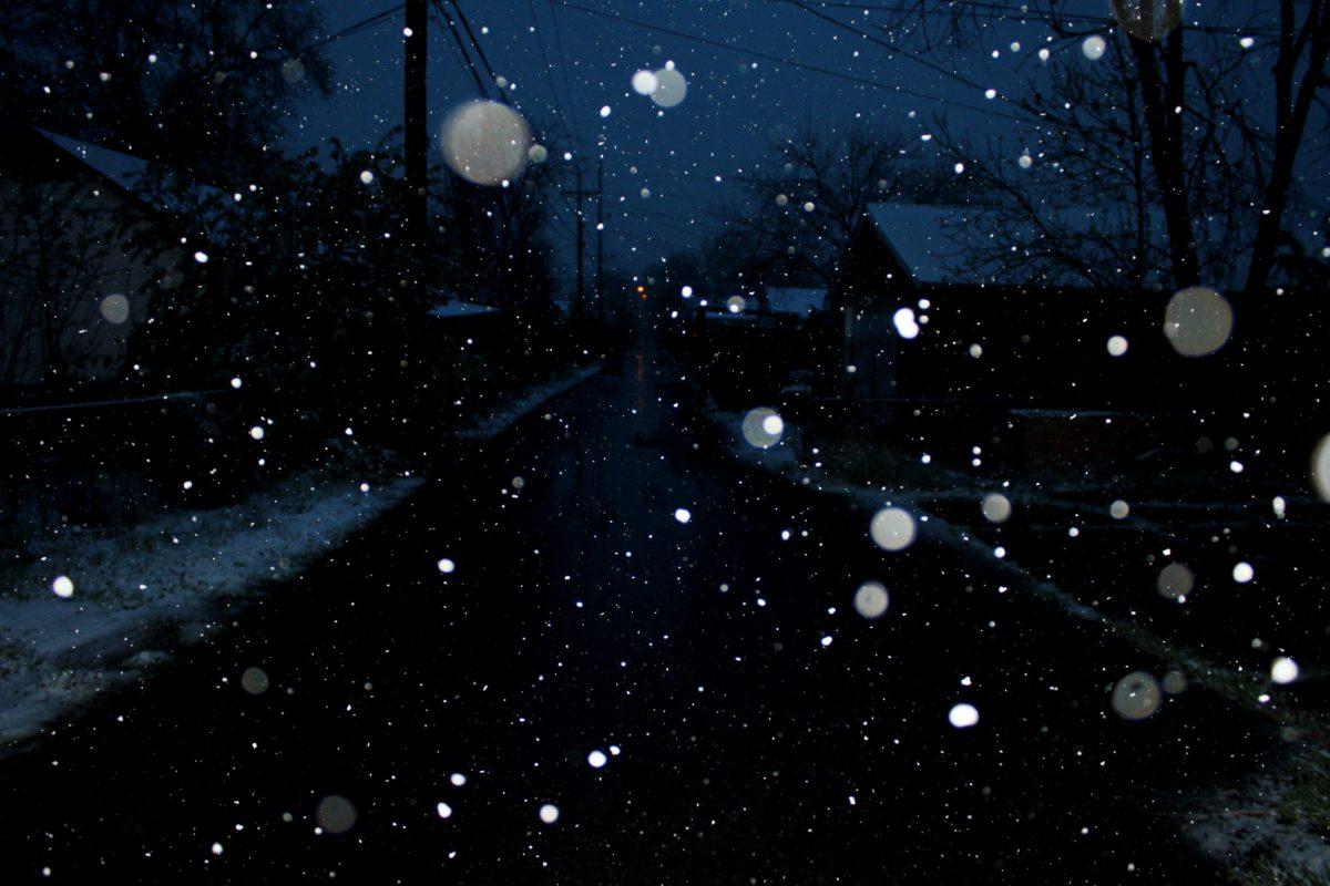 noc, nocy, śnieg, śnieżynka, płatki śniegu, Kurzawa, upuść, przestrzeń