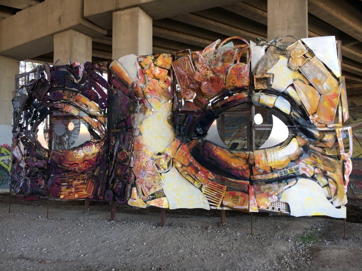 umění, obličej, kov, sochařství, Koš, městská oblast, kultura, ulice