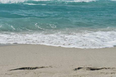 hyvällä säällä, nousuvesi, hiekka, vesi, valtameri, meren rannalla, Aalto, ranta