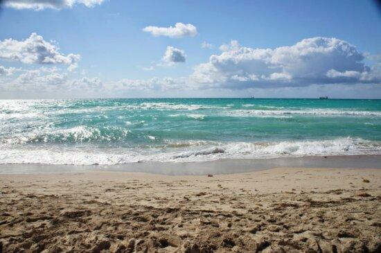 Wolke, Meer, Ozean, Küste, Sand, Wasser, am Meer, Strand