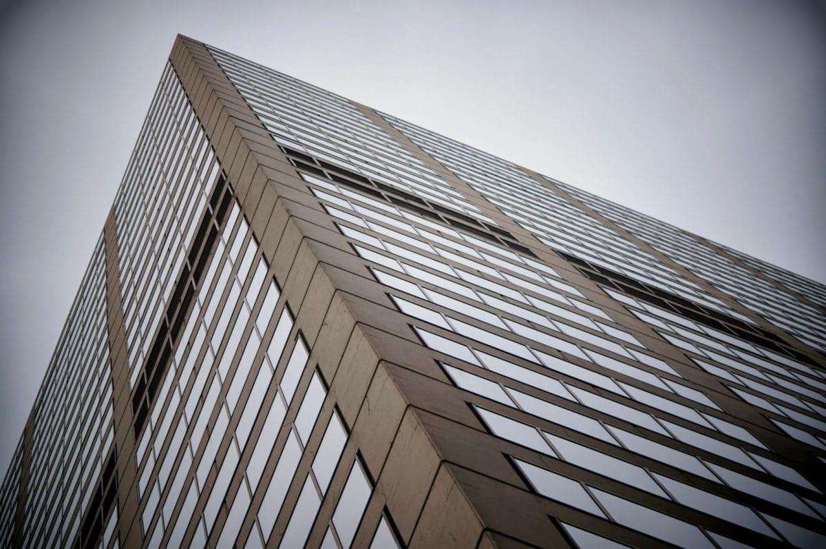 perspektiv, bygning, skyskraber, glas, arkitektur, tårn, city, vindue