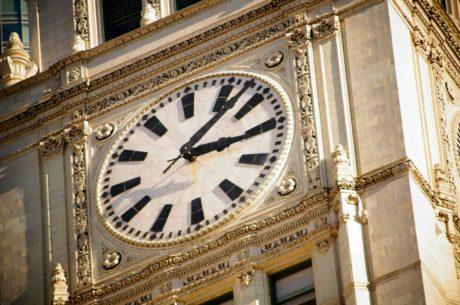 umění, hrad, Anglie, exteriér, fasáda, hodiny, hodinky, čas