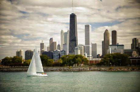 Yacht, byen, arkitektur, sentrum, bygge, bybildet, skyskraper, reise